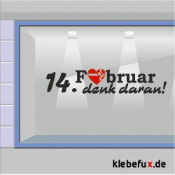 "Aufkleber Valentinstag ""14. Februar denk dran"""