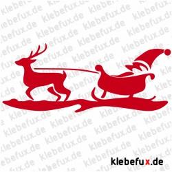 Aufkleber Weihnachten mit Elchen und Schlitten