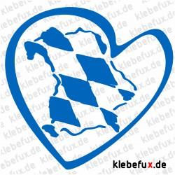 Aufkleber Herz Nr. 5 mit Bayernkarte