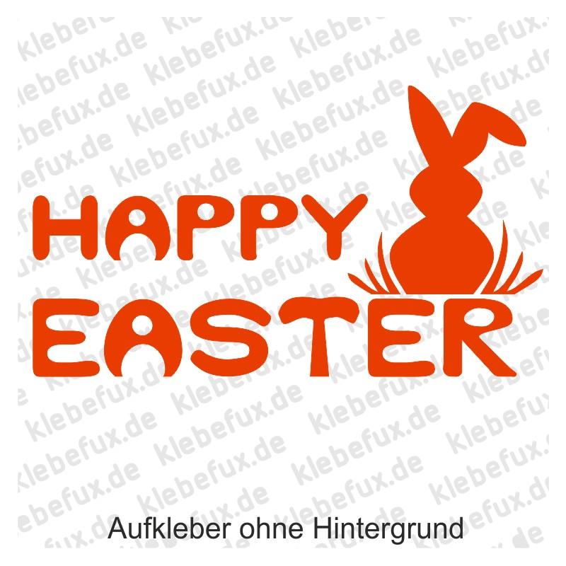 Happy Easter Aufkleber in orange mit Hase