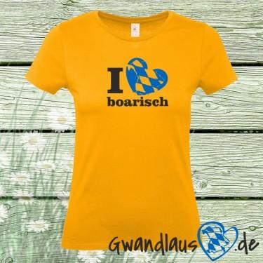 Textil I love Boarisch mit Landkarte und Herz