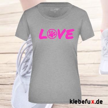 """Textil """"Love"""" mit Pfote"""