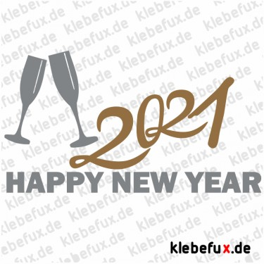 Aufkleber Neujahrsgrüße 2021 Nr. 3 zweifarbig