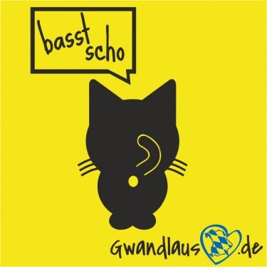 "Aufkleber Katze ""basst scho"""