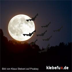Aufkleber Halloween Fledermäuse 5er Staffelung
